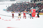 HOLMENKOLLEN, OSLO, NORWAY - March 16: (R-L) Bryan Fletcher of USA, Haavard Klemetsen of Norway (NOR), Tino Edelmann of Germany (GER) and Marjan Jelenko of Slovenia (SLO) during the cross country 15 km (2 x 7.5 km) competition at the FIS Nordic Combined World Cup on March 16, 2013 in Oslo, Norway. (Photo by Dirk Markgraf)