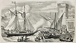 Alexandre Dumas leaving Marseilles aboard the yacht Montecristo. Original, from drawing of Rouargue, after sketch of Crapelet, published on L'Illustration, Journal Universel, Paris, 1860