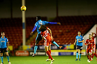 Jordy Hiwula of Fleetwood Town wins the ball against Kory Roberts of Walsall during the Sky Bet League 1 match between Walsall and Fleetwood Town at the Banks's Stadium, Walsall, England on 21 November 2017. Photo by Leila Coker.