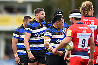 Elliott Stooke of Bath Rugby shouts out encouragement at a scrum. Aviva Premiership match, between Bath Rugby and Worcester Warriors on October 7, 2017 at the Recreation Ground in Bath, England. Photo by: Patrick Khachfe / Onside Images