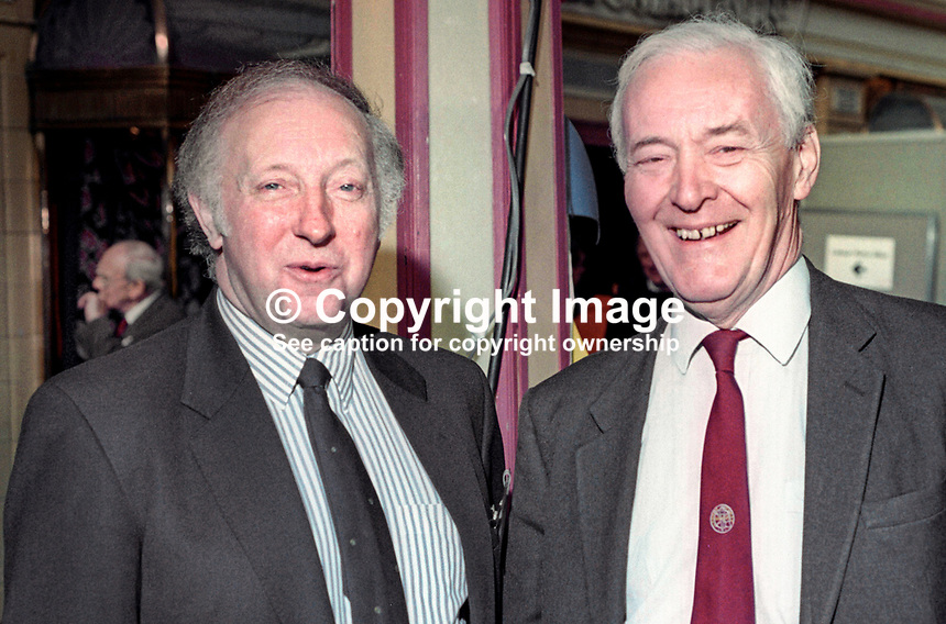 Arthur Scargill, president, National Union of Mineworkers, left, and veteran Labour politician, Tony Benn, looking happy at annual conference, Labour Party, UK, September 1994, 19940930AS9<br />
