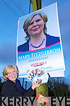 Independent candidate Mary Fizgibbon on the campaign trail last Sunday evening in Mountcollins.