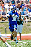 April 30, 2011:  Duke Blue Devils attack Christian Walsh (19) works the ball up field during lacrosse action between the Duke Blue Devils and Jacksonville Dolphins at D. B. Milne Field in Jacksonville, Florida.  Duke defeated Jacksonville 10-6.