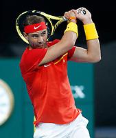 6th January 2020; RAC Arena, Perth, Western Australia; ATP Cup Australia, Perth, Day 4; Spain versus Uruguay; Rafael Nadal of Spain plays a backhand shot against Pablo Cuevas of Uruguay - Editorial Use