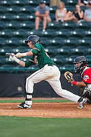 Zach Sullivan (24) of the Greensboro Grasshoppers squares to bunt against the Hickory Crawdads at L.P. Frans Stadium on May 6, 2015 in Hickory, North Carolina.  The Crawdads defeated the Grasshoppers 1-0.  (Brian Westerholt/Four Seam Images)
