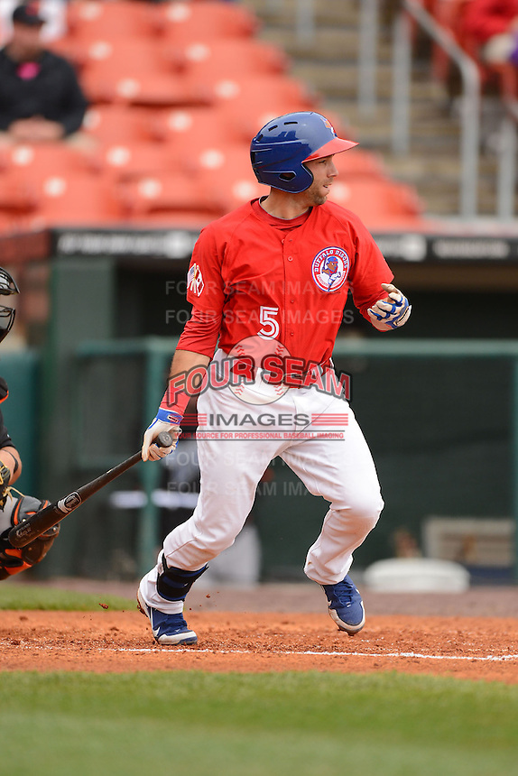 Buffalo Bisons second baseman Jim Negrych #5 during a game against the Norfolk Tides on May 9, 2013 at Coca-Cola Field in Buffalo, New York.  Norfolk defeated Buffalo 7-1.  (Mike Janes/Four Seam Images)