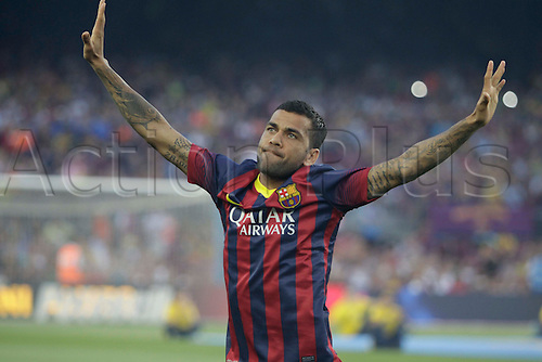 02.08.2013 Barcelona, Spain. Joan Gamper Trophee. Picture shows Dani Alves in action during game between FC Barcelona against Santos at Camp Nou