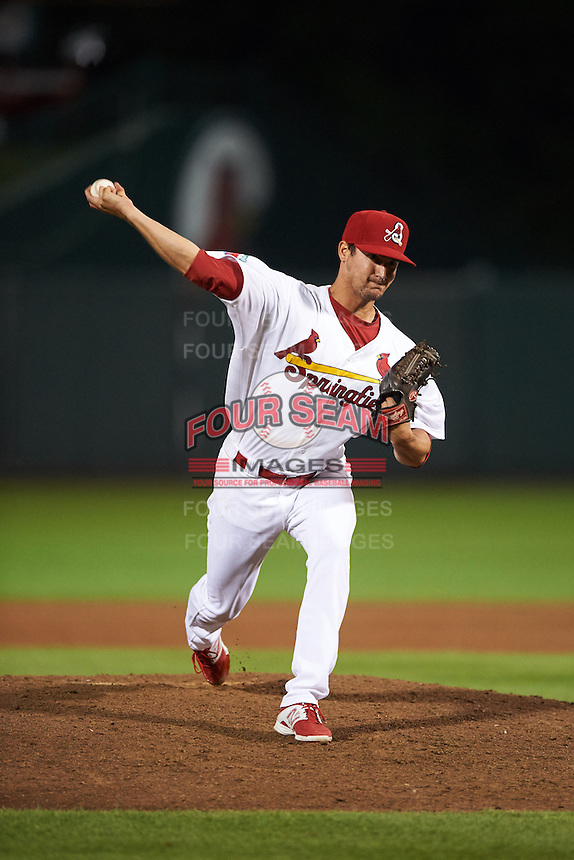 Springfield Cardinals pitcher Joey Donofrio (43) delivers a pitch during a game against the Frisco RoughRiders  on June 3, 2015 at Hammons Field in Springfield, Missouri.  Springfield defeated Frisco 7-2.  (Mike Janes/Four Seam Images)