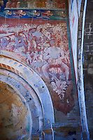 14th century Frescoes of the Descent into Hell attributed to Gregory and Donato D'Arezzo , Basilica Church of Santa Maria Maggiore, Tuscania