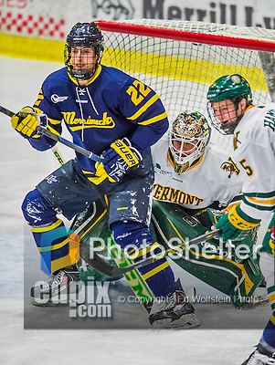 21 February 2015:  Merrimack College Warrior Forward Mathieu Tibbet, a Freshman from Dover, DE, in second period action against the University of Vermont Catamounts at Gutterson Fieldhouse in Burlington, Vermont. The teams played to a scoreless tie as the Cats wrapped up their Hockey East regular home season. Mandatory Credit: Ed Wolfstein Photo *** RAW (NEF) Image File Available ***