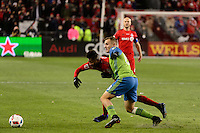 Toronto, ON, Canada - Saturday Dec. 10, 2016: Armando Cooper, Jordan Morris during the MLS Cup finals at BMO Field. The Seattle Sounders FC defeated Toronto FC on penalty kicks after playing a scoreless game.