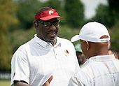 Washington Redskins Senior Vice President of Player Personnel Doug Williams, who was named the Most Valuable Player in Super Bowl XXII, greets former Redskins and New York Giant kick returner Brian Mitchell at the conclusion a joint training camp practice with the New York Jets at the Washington Redskins Bon Secours Training Facility in Richmond, Virginia on Monday, August 13, 2018.<br /> Credit: Ron Sachs / CNP<br /> (RESTRICTION: NO New York or New Jersey Newspapers or newspapers within a 75 mile radius of New York City)