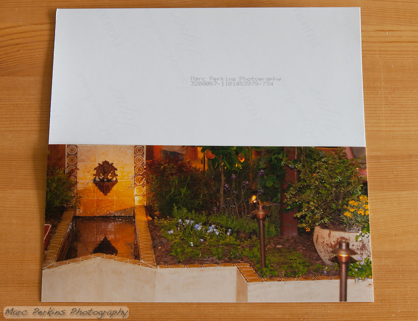 "This was listed as a 4x8"" greeting card with envelope; the printing is fine, but the back is hardly card-worthy.  The serial number is presumably always printed, and if you look closely you can see the logo of the Fuji paper splattered across the back.  If you were just going to print a pre-made ""Thanks from the Does"" card this would be fine; but it's horrible if you want to write anything on it.  Photoshelter has since changed the description of this product to a 4x8"" print with envelope."