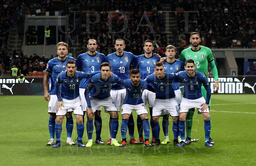 Football: Uefa Nations League Group 3match Italy vs Portugal at Giuseppe Meazza (San Siro) stadium in Milan, on November 17, 2018.<br /> Italy's national team  pose for the pre match photograph prior to the Uefa Nations League match between Italy and Portugal at Giuseppe Meazza (San Siro) stadium in Milan, on November 17, 2018.<br /> UPDATE IMAGES PRESS/Isabella Bonotto