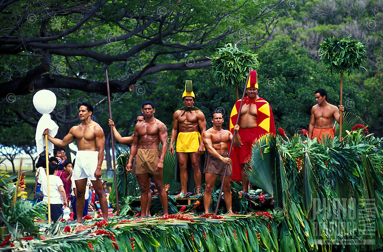 the Royal Court float in the Kamehameha Day Parade, which commemorates Kamehameha the Great, the first King to unite  the islands under one ruler. He is remembered on June 11th every year.