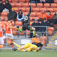 Blackpool's Joe Lumley saves from Bristol Rovers' Rory Gaffney<br /> <br /> Photographer Mick Walker/CameraSport<br /> <br /> The EFL Sky Bet League One - Blackpool v Bristol Rovers - Saturday 13th January 2018 - Bloomfield Road - Blackpool<br /> <br /> World Copyright &copy; 2018 CameraSport. All rights reserved. 43 Linden Ave. Countesthorpe. Leicester. England. LE8 5PG - Tel: +44 (0) 116 277 4147 - admin@camerasport.com - www.camerasport.com