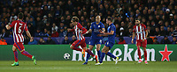Atletico Madrid's Antoine Griezmann gets away from Leicester City's Yohan Benalouane and Daniel Drinkwater<br /> <br /> Photographer Stephen White/CameraSport<br /> <br /> UEFA Champions League Quarter Final Second Leg - Leicester City v Atletico Madrid - Tuesday 18th April 2017 - King Power Stadium - Leicester <br />  <br /> World Copyright &copy; 2017 CameraSport. All rights reserved. 43 Linden Ave. Countesthorpe. Leicester. England. LE8 5PG - Tel: +44 (0) 116 277 4147 - admin@camerasport.com - www.camerasport.com