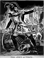 Paul Jones the Pirate.  Caricature of John Paul Jones.  Copy of engraving, ca. (OWI)   <br /> Exact Date Shot Unknown<br /> NARA FILE #:  208-LU-25K-14<br /> WAR & CONFLICT #:  46