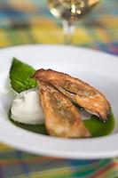 France/DOM/Martinique/Le François: Filet de rouget  croustillant à la brandade d'igname et huile aux saveurs créoles , recette d'Hervé Rameau chef de l'Hôtel Cap Est Lagoon Resort & Spa