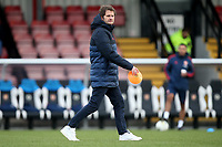 Arsenal manager Joe Montemurro lays out the cones for the warm up ahead of Arsenal Women vs Bristol City Women, Barclays FA Women's Super League Football at Meadow Park on 1st December 2019