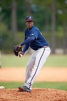 Atlanta Braves pitcher Akeel Morris (77) during a Minor League Spring Training game against the Detroit Tigers on March 19, 2018 at the TigerTown Complex in Lakeland, Florida.  (Mike Janes/Four Seam Images)