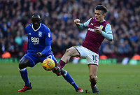 Jack Grealish of Aston Villa in action with Cheikh Ndoye of Birmingham during the Sky Bet Championship match between Aston Villa and Birmingham City at Villa Park, Birmingham, England on 11 February 2018. Photo by Bradley Collyer/PRiME Media Images.