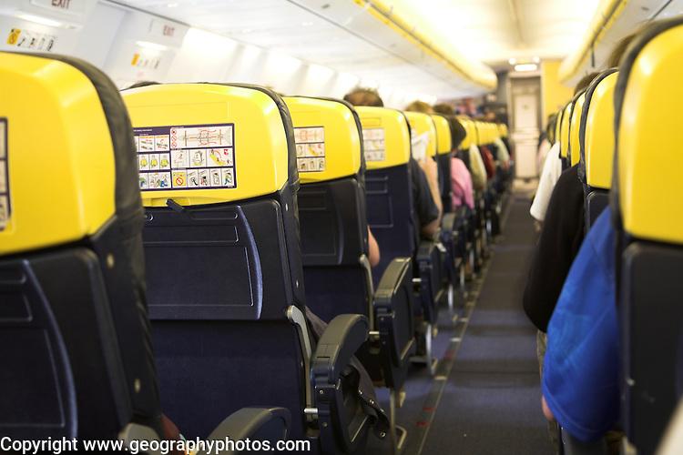 Seats and gangway on Ryanair flight