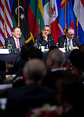 President Tsakhiagiin Elbegdorj of Mongolia, United States President Barack Obama and United Nations Deputy Secretary-General Jan Eliasson listen to questions during the International Civil Society event  in New York, New York, on Monday, September 23, 2013. <br /> Credit: Jin Lee / Pool via CNP