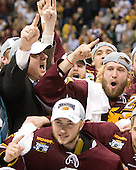Kenny Reiter (Duluth - 35), Drew Olson (Duluth - 8) - The University of Minnesota-Duluth Bulldogs celebrated their 2011 D1 National Championship win on Saturday, April 9, 2011, at the Xcel Energy Center in St. Paul, Minnesota.
