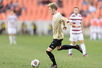 Houston, TX - Friday December 11, 2016: Sam Raben (26) of the Wake Forest Demon Deacons passes the ball against the Stanford Cardinal at the NCAA Men's Soccer Finals at BBVA Compass Stadium in Houston Texas.