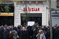 CEREMONIE D'HOMMAGE AUX VICTIMES DE L'ATTENTAT DU BATACLAN A PARIS, FRANCE, LE 13/11/2017.