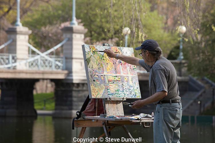 John Sirois, painting,  Public Garden spring, Boston, MA