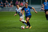 Kansas City, MO - Thursday August 10, 2017: Debinha De Oliveira, Desiree Scott during a regular season National Women's Soccer League (NWSL) match between FC Kansas City and the North Carolina Courage at Children's Mercy Victory Field.