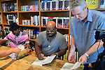 CORAL GABLES, FL - SEPTEMBER 21: Big Gipp of the Goodie Mob, CeeLo Green and Steve Moss greets fans and signs copies of his book 'Everybodys Brother' at Books and Books on September 21, 2013 in Coral Gables, Florida. (Photo by Johnny Louis/jlnphotography.com)