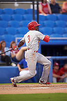 Palm Beach Cardinals outfielder C.J. McElroy (3) at bat during the second game of a doubleheader against the Dunedin Blue Jays on July 31, 2015 at Florida Auto Exchange Stadium in Dunedin, Florida.  Dunedin defeated Palm Beach 4-0.  (Mike Janes/Four Seam Images)