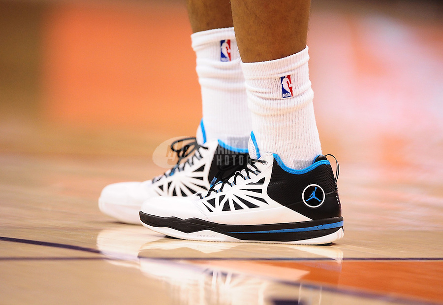 Mar. 25, 2011; Phoenix, AZ, USA; Detailed view of the shoes of New Orleans Hornets guard (3) Chris Paul against the Phoenix Suns at the US Airways Center. The Hornets defeated the Suns 106-100. Mandatory Credit: Mark J. Rebilas-