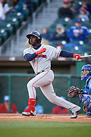 Pawtucket Red Sox center fielder Rusney Castillo (38) hits a double during a game against the Buffalo Bisons on May 19, 2017 at Coca-Cola Field in Buffalo, New York.  Buffalo defeated Pawtucket 7-5 in thirteen innings.  (Mike Janes/Four Seam Images)