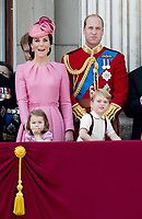 17 June 2017 - London, England - Prince William, Princess Kate, Duchess Kate, Duchess of Cambridge and Prince George and Princess Charlotte. The ceremony of the Trooping the Colour, marking the monarch's official birthday, in London. Photo Credit: PPE/face to face/AdMedia