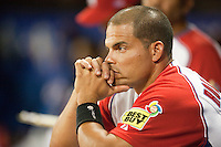9 March 2009: #7 Ivan Rodriguez of Puerto Rico is seen in the dugout during the 2009 World Baseball Classic Pool D game 4 at Hiram Bithorn Stadium in San Juan, Puerto Rico. Puerto Rico wins 3-1 over Netherlands