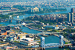 aerial views of the bridges along the east river view north