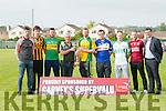 Launching the Garvey's SuperValu Hurling Championship at Austin Stack GAA Club,Connolly Park,Tralee on Saturday evening. l-r: Shane Nolan (Crotta O'Neill),David Egan (Abbeydorney) Stephen O'Brien (Lixnaw),Ger McCarthy Hurling Officer KCB),Aidan McCabe (Kilmoyley),Kevin Orpen (St Brendan's Ardfert),PJ O'Gorman (Ballyduff),Eamon Fitzgerald (Causeway) and Jim Garvey (Sponsor).