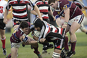 Waka Setitaia is takne to ground during the Air NZ Cup game between the Counties Manukau Steelers and Southland played at Mt Smart Stadium on 3rd September 2006. Counties Manukau won 29 - 8.