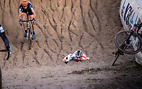 Ben Tulett (GBR) crash <br /> <br /> CX Superprestige Zonhoven (BEL) 2019<br /> Elite & U23 mens race