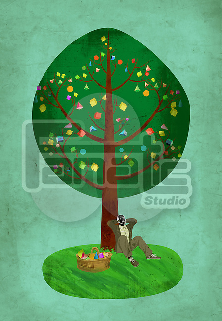 Illustrative image of senior man resting against tree representing pension