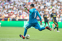 Landover, MD - August 4, 2018: Real Madrid goalkeeper Keylor Navas (1) kicks the ball during the match between Juventus and Real Madrid at FedEx Field in Landover, MD.   (Photo by Elliott Brown/Media Images International)