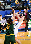 BROOKINGS, SD - JANUARY 6: Myah Selland #44 from South Dakota State University is fouled while taking the ball to the basket by Reilly Jacobson #32 from North Dakota State University  during their game Saturday afternoon at Frost Arena in Brookings, SD. (Photo by Dave Eggen/Inertia)