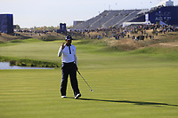 Tiger Woods (Team USA) sinks his putt on the 10th green during Saturday's Foursomes Matches at the 2018 Ryder Cup 2018, Le Golf National, Ile-de-France, France. 29/09/2018.<br /> Picture Eoin Clarke / Golffile.ie<br /> <br /> All photo usage must carry mandatory copyright credit (© Golffile | Eoin Clarke)