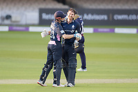 John Simpson of Middlesex CCC congratulates James Harris of Middlesex CCC on his century during Middlesex vs Lancashire, Royal London One-Day Cup Cricket at Lord's Cricket Ground on 10th May 2019