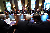 United States President Donald J. Trump holds a cabinet meeting as US Vice President Mike Pence (front center) talks to US Secretary of the Treasury Steven Mnuchin (from right) at the White House on November 20, 2017 in Washington, D.C. President Trump officially designated North Korea as a state sponsor of terrorism.<br /> Credit: Kevin Dietsch / Pool via CNP