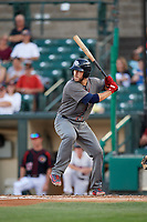 Lehigh Valley IronPigs catcher Logan Moore (35) at bat during a game against the Rochester Red Wings on September 1, 2018 at Frontier Field in Rochester, New York.  Lehigh Valley defeated Rochester 2-1.  (Mike Janes/Four Seam Images)